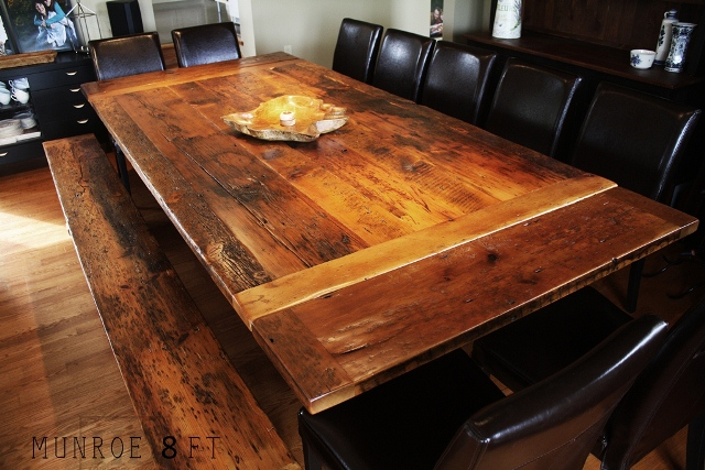 Mennonite Built Reclaimed Wood Table With Bench   Durable Polyurethane  Finish