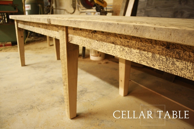 11u2032 1.5u2033 Long Harvest Table U2013 30.5u2033 Wide U2013 Tapered Legs U2013 6 Legs U2013 Premium  Epoxy U0026 Matte Polyurethane Finish U2013 Reclaimed Threshing Floor Board  Construction ...