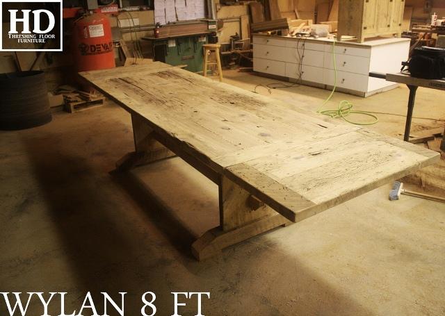 Unfinished Reclaimed Wood Trestle Table with epoxy finish