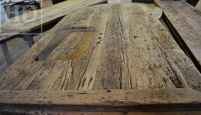 Custom Reclaimed Wood Island Top Finished With Our