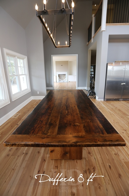Ontario Barnwood Table Rustic Caledon Plank Table with Epoxy Finish