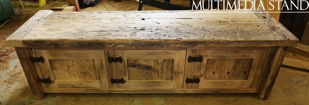 Reclaimed Wood Wood Entertainment Unit Toronto TV Stand Unfinished Mennonit  Built 8