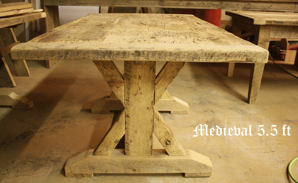 5.5 Foot Sawbuck Table Reclaimed Pine Dark Epoxy Polyurethane Finish  Medieval Oakville, Ontario   Unfinished