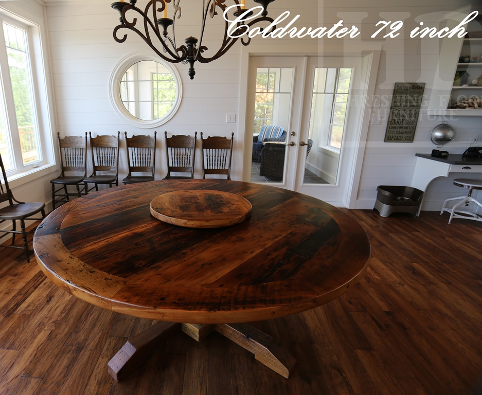 Reclaimed Wood Pedestal Table With Lazy Susan 7 Blog
