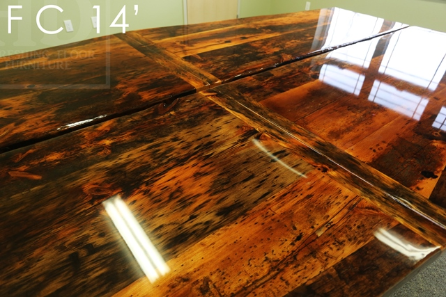 Details of table 14 ft Long - 2 parts - Reclaimed Threshing Floor Pine -