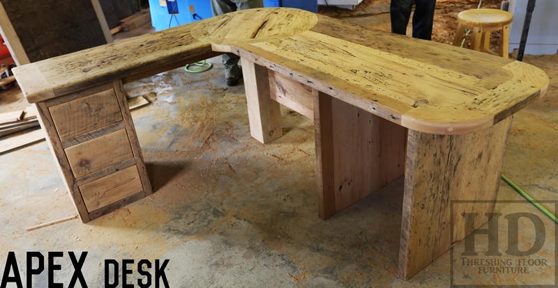 Custom reclaimed wood desks angled design blog for Wood floor 90 degree turn