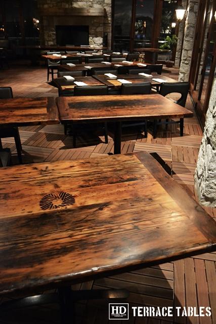 Custom Restaurant Tops Brand Burnt In Premium Matte Polyurethane Finish Reclaimed
