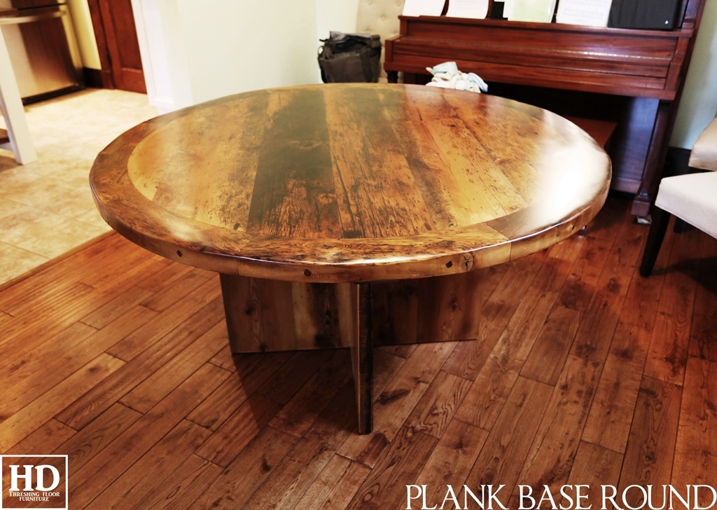 Straight Lines Modern Base On Reclaimed Wood Round Table