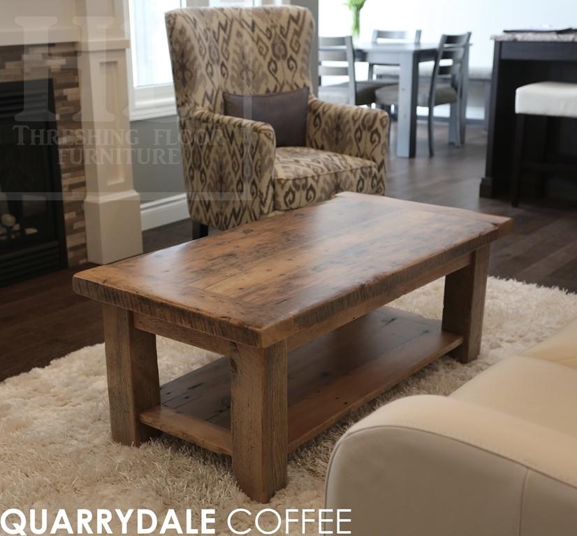 Wonderful 48u201d X 24u201d Coffee Table U2013 18u2033 Height U2013 With A 1u201d Grainery Board Shelf U2013 4u201d X  4u201d Windbrace Legs U2013 Greytone Treatment To Preserve Tones Of Unfinished ...