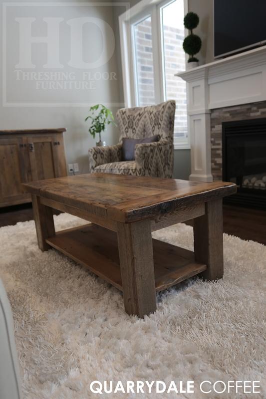 48u201d X 24u201d Coffee Table U2013 18u2033 Height U2013 With A 1u201d Grainery Board Shelf U2013 4u201d X  4u201d Windbrace Legs U2013 Greytone Treatment To Preserve Tones Of Unfinished ...