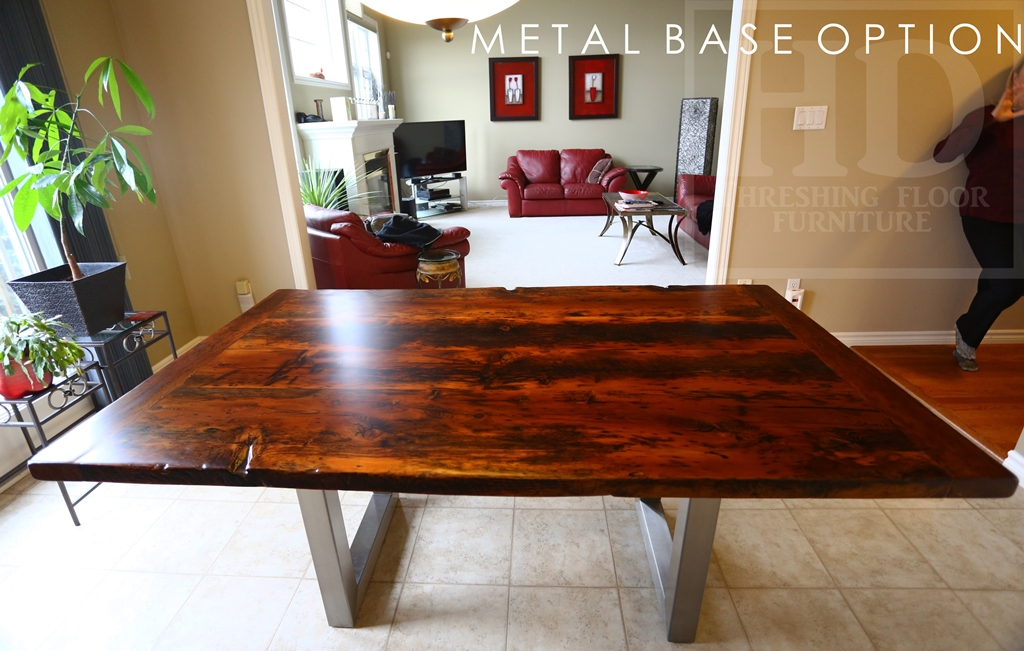 6 Metal Base Reclaimed Wood Table