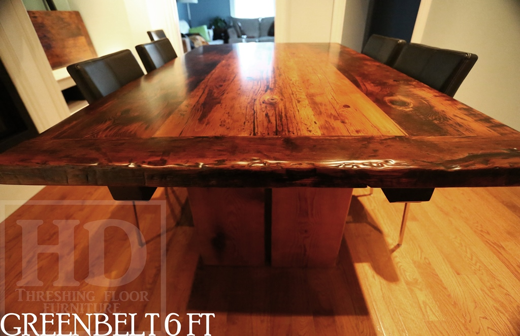 6 Ft Reclaimed Wood Table Modern Plank Style Base Centre Gap On Posts