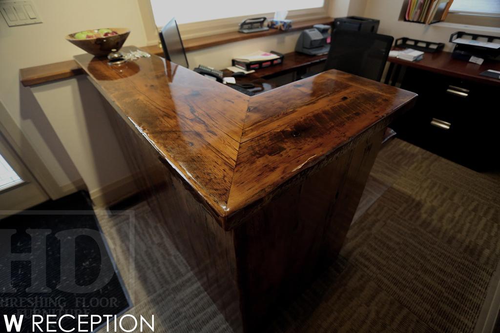 Custom Reclaimed Wood Reception Desk Burlington Ontario ...