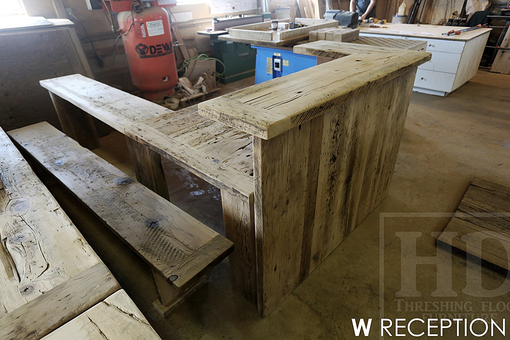 Custom Reclaimed Wood Reception Desk Burlington Ontario Gerald Reinink ...