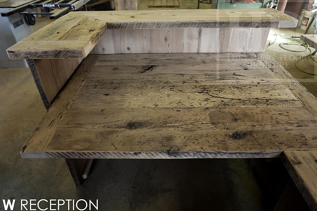 Details Custom Reception Desk Vertical 2 Threshing Floor Walls Construction Reclaimed Hemlock