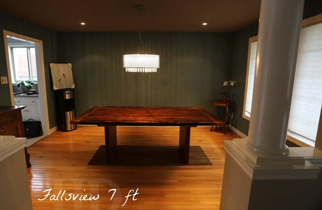 Reclaimed wood 3 plank post table in grimsby ontario for 7 foot dining room table