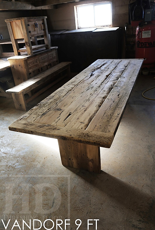9 ft Modern 3  plank posts Table   36  wide   Reclaimed Hemlock. Modern Reclaimed Wood Table Airport Road Ontario High Gloss HD