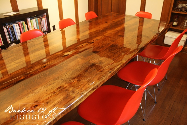 High Gloss Reclaimed Wood Dining Table Mississauga Epoxy