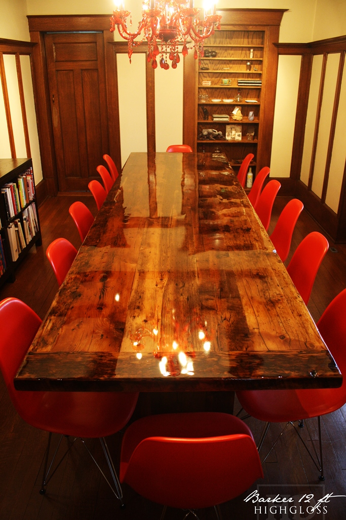 Modern high gloss reclaimed wood table in mississauga