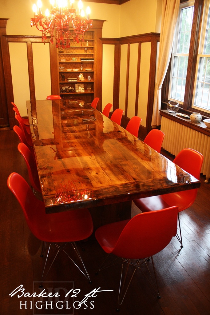 modern reclaimed wood table, reclaimed wood tables Ontario, HD Threshing,  High Gloss Reclaimed