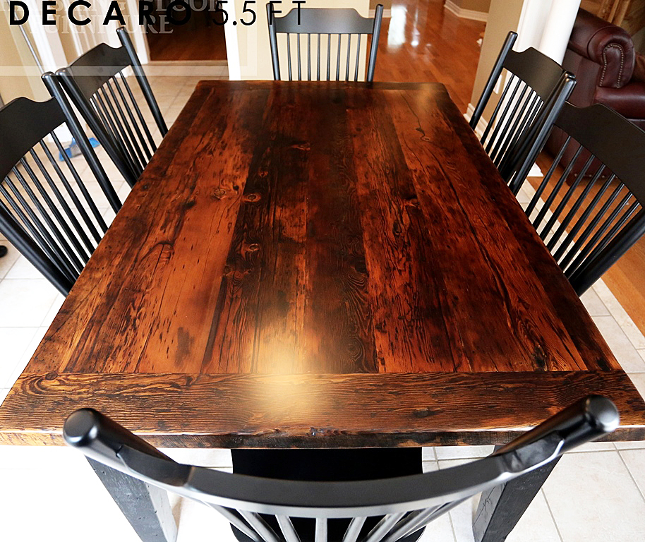 Georgetown Reclaimed Wood Harvest Table With Black Base