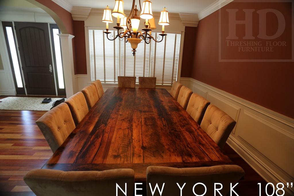 Charming Table Details: 108u2033 Harvest Table U2013 54u2033 Wide U2013 Premium Epoxy Resin + Matte  Polyurethane Finish U2013 Reclaimed Hemlock Barnwood Threshing Floor U2013 2u2033 Top  ...