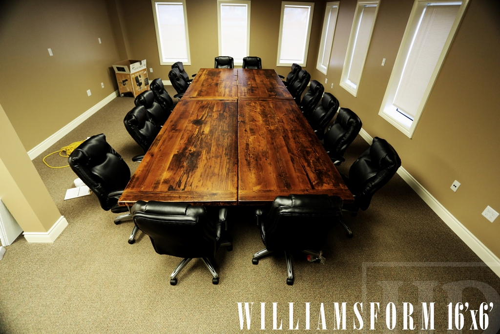 Specifications 16 Ft Boardroom Table 3 Plank Post Style Base Made Up Of 8 X 36 Sections That Can Be Re Configured Reclaimed Hemlock Threshing