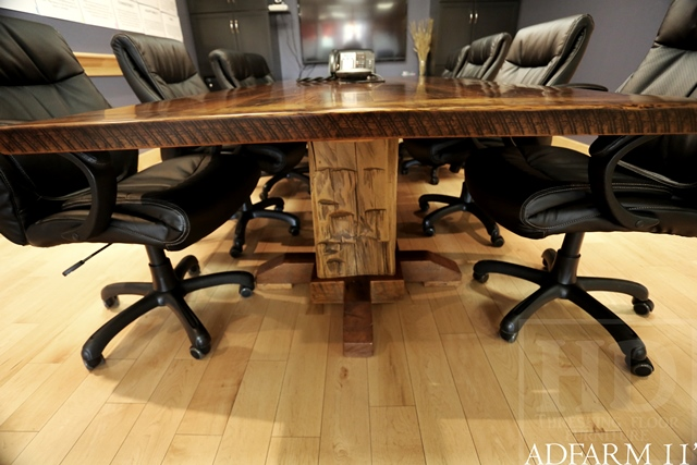 Specifications 11 Ft Boardroom Table Hand Hewn Beam Posts Base Premium Epoxy Matte Polyurethane Finish Reclaimed Hemlock 2 Threshing Floor Board Top
