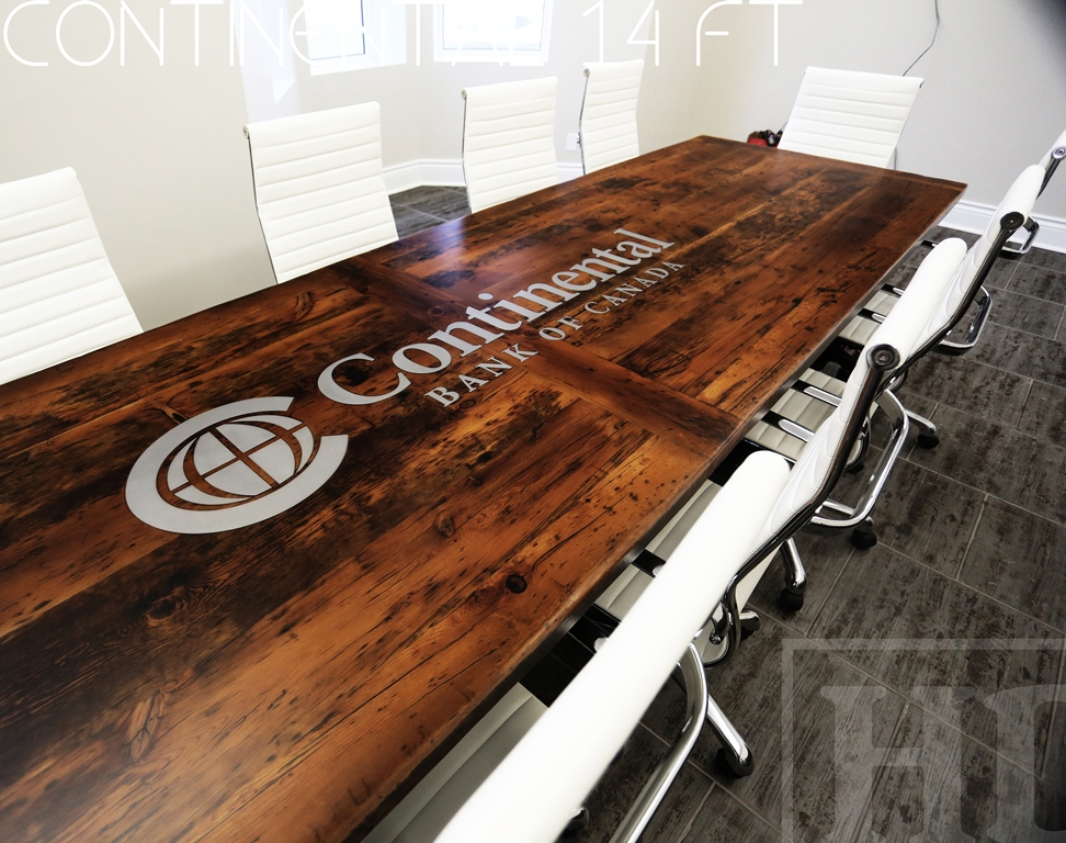 Matte Finish Epoxy : Custom reclaimed wood boardroom table in whitby ontario