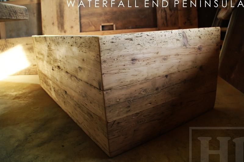 reclaimed wood islands Ontario, reclaimed wood island,waterfall end, reclaimed wood, Gerald Reinink