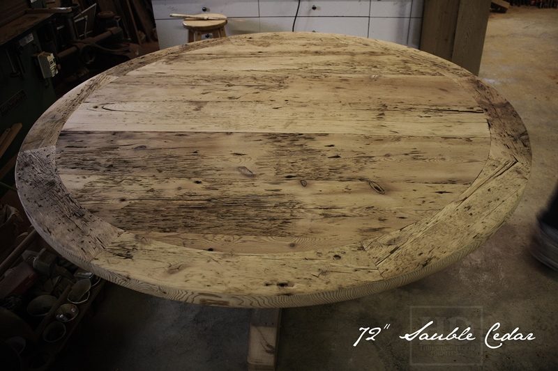 details of table 72u2033 round pedestal dining table u2013 reclaimed cedar hydro pole base u2013 reclaimed hemlock threshing floor 2u2033 top u2013 premium epoxymatte