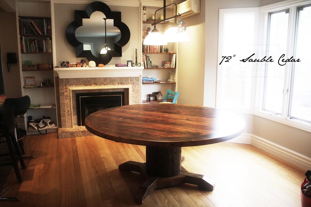 Details Of Table 72 Round Pedestal Dining Reclaimed Cedar Hydro Pole Base Hemlock Threshing Floor 2 Top Premium Epoxy Matte