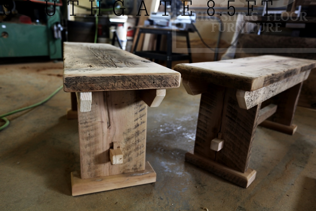 Reclaimed Wood Table With Mill Chairs, End Benches And