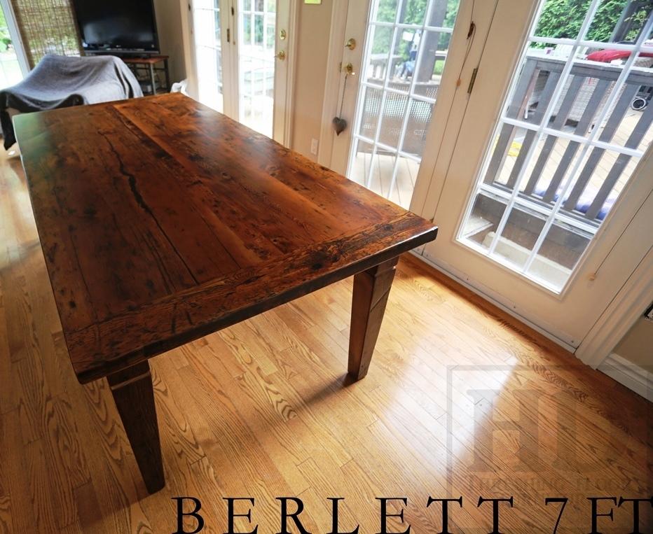 7 Ft Harvest Table U2013 42u2033 Wide U2013 3u2033 Skirting U2013 Reclaimed Hemlock Barnwood  Construction U2013 Premium Epoxy/matte Polyurethane Finish U2013 Tapered With A  Notch Legs