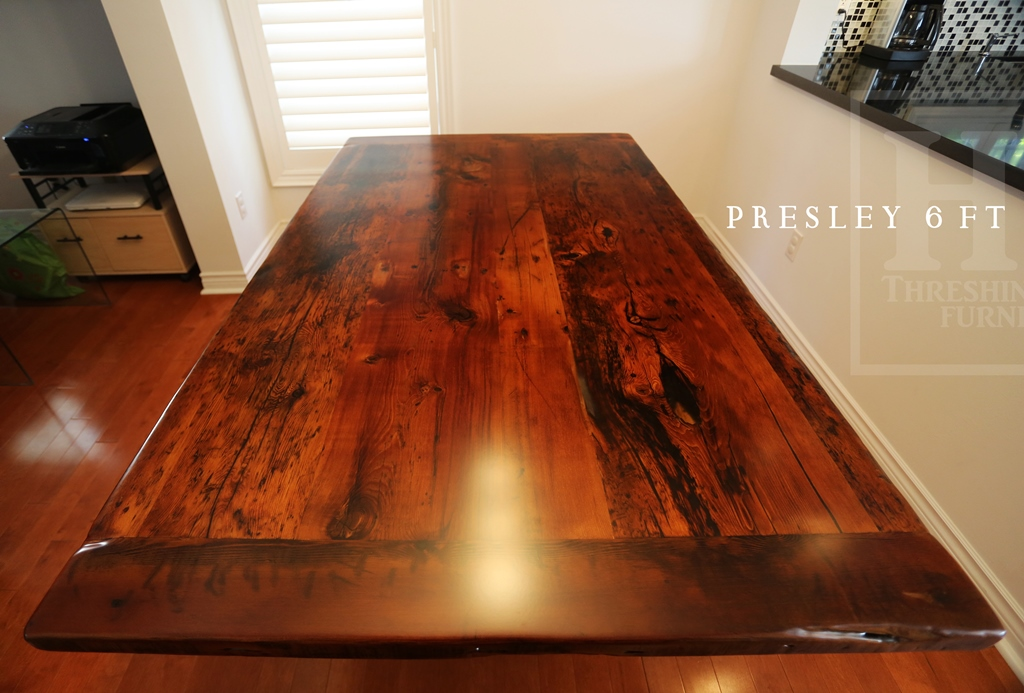 Reclaimed wood kitchen table in etobicoke ontario home