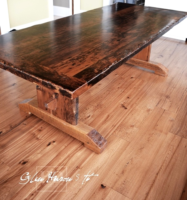 Reclaimed wood cottage table glen huron ontario epoxy
