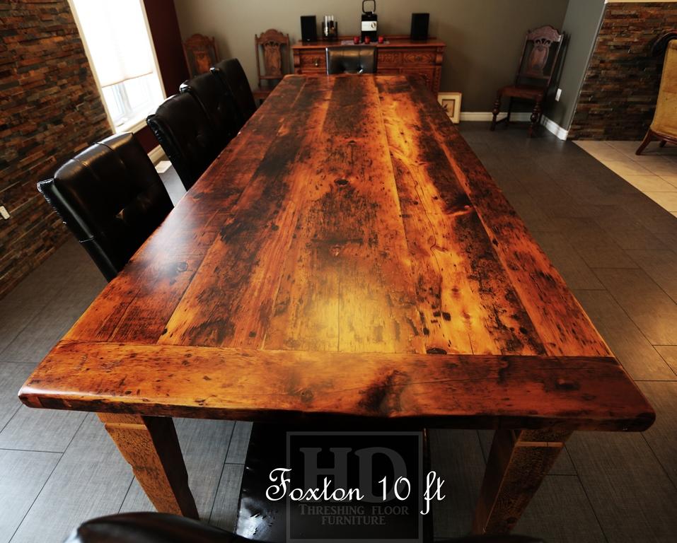 Details: 10 Foot Harvest Table U2013 42u2033 Wide U2013 Premium Epoxy/matte  Polyurethane Finish U2013 Tapered With A Notch 4u2033x4u2033 Winbrace Beam Legs U2013  Reclaimed Pine 2u2033 ...