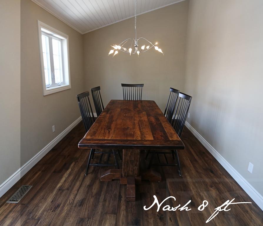 8 Foot Kitchener Pedestal Table 42 Inches Wide Reclaimed Barnwood Hemlock Threshing Floor 2 Top Hand Hewn Beam Posts Base Premium