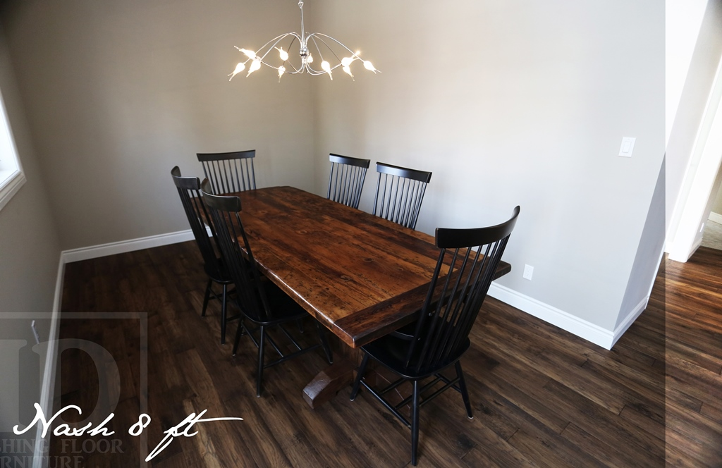 Reclaimed wood pedestal table in kitchener ontario home