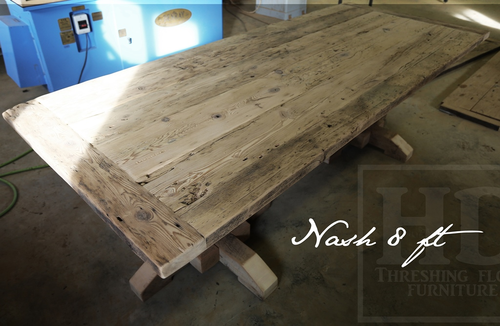 Reclaimed Wood Pedestal Table In Kitchener Ontario Home Old Hand Hewn Beam Posts Blog