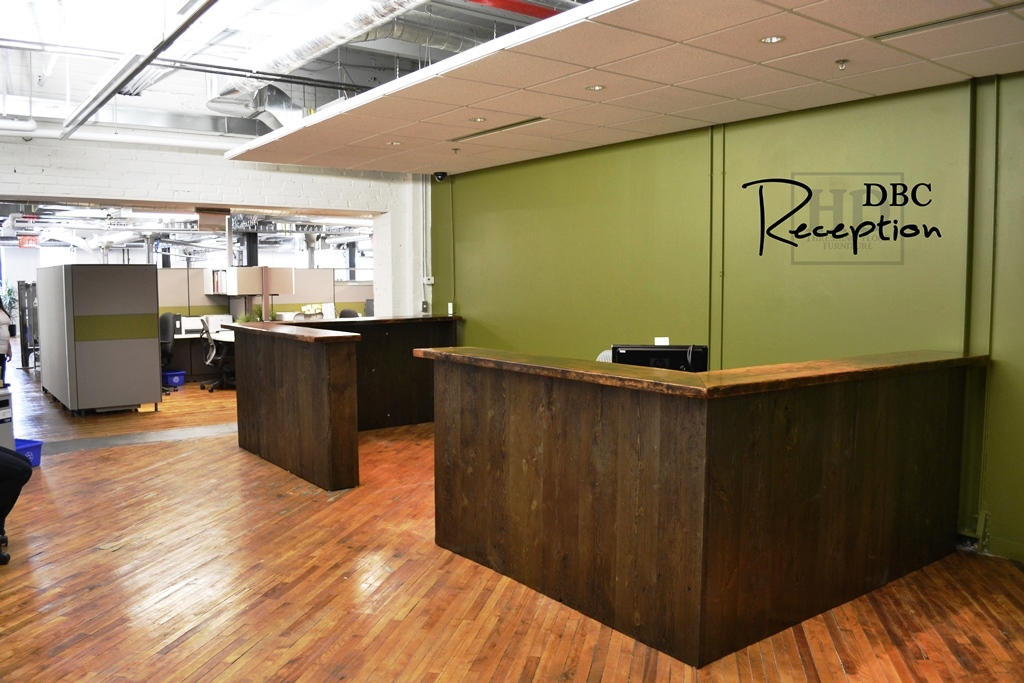 Details Custom Reception Desk 45 Height Reclaimed Hemlock Vertical 2 Threshing Floor Board Walls Black Stain On Threshfloor Premium