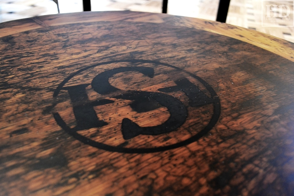 Reclaimed wood restaurant tops ontario epoxy gerald for Threshing floor