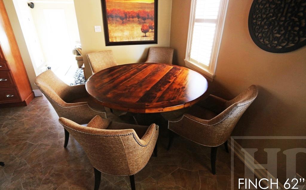 Specifications 62 Round Pedestal Table Reclaimed Wood Cedar Hydro Pole Base Hemlock Threshing Floor 2 Top Premium Epoxy Satin
