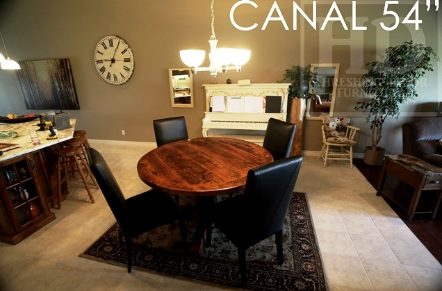 Details 54 Round Pedestal Table Reclaimed Cedar Hydro Pole Base 2 Hemlock Threshing Floor Board Top Premium Epoxy Matte Polyurethane
