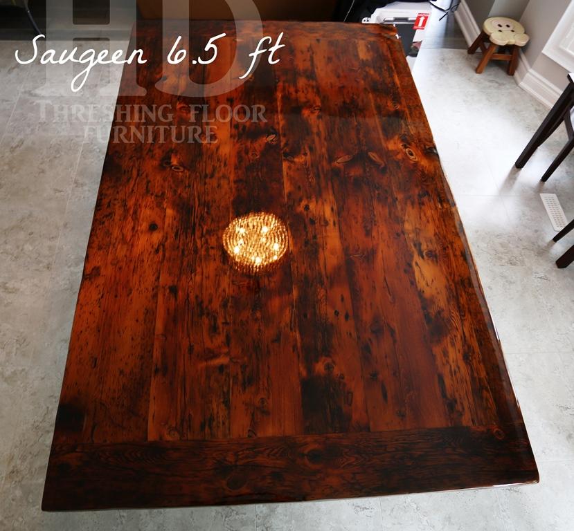 Reclaimed Wood Trestle Table, High Gloss Finish, Ancaster, Ontario,  Farmhouse, Reclaimed