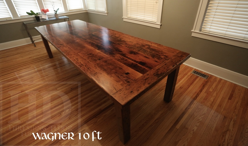Specifications: 10 Ft Harvest Table In Windsor, Ontario U2013 42u2033 Width U2013  Reclaimed Hemlock Threshing Floor 2u2033 Top U2013 Original Distressed Barnboard  Edges ...