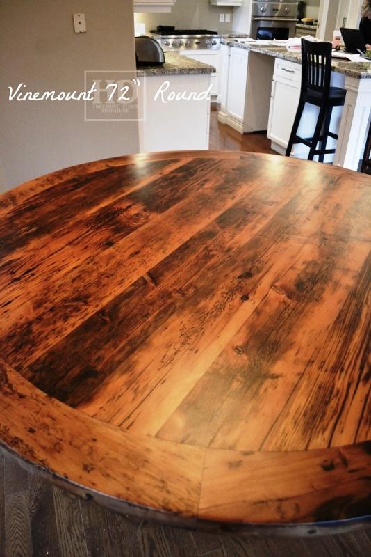 Round Reclaimed Wood Pedestal Table Binbrook Ontario 7