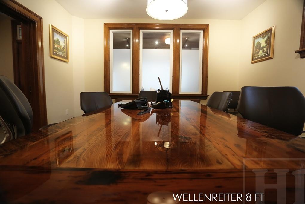 Boardroom table in burlington ontario made from reclaimed for Burlington wood floors