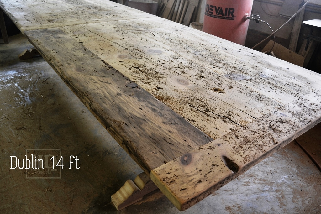Unique Barnwood Distressing 14 Foot Reclaimed Pine Trestle Table In Utopia