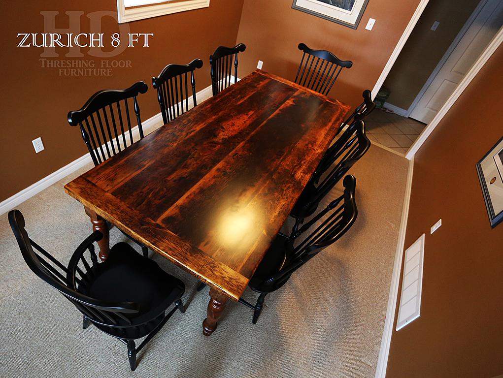 Reclaimed wood harvest table set in acton ontario blog for Finishing live edge wood